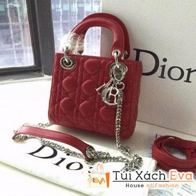 Túi Xách Dior Lady Super 3 Ô Màu Đỏ Khóa Bạc Đẹp