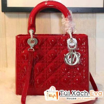Túi Xách Dior Lady Super Da Bóng 5 Ô Màu Đỏ Khóa Bạc Đẹp