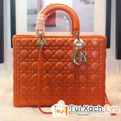 Túi Xách Dior Lady Super 7 Ô Da Lì Màu Cam Khóa Vàng Đẹp