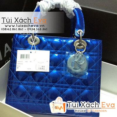 Túi Xách Dior Lady Super Da Bóng 5 Ô Màu Xanh Cobalt Đẹp