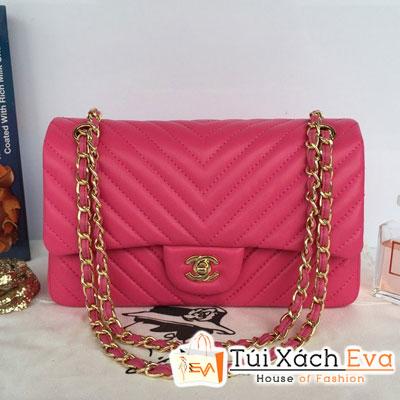 Túi Xách Chanel Classic Chevron Siêu Cấp Màu Hồng Sen Đẹp