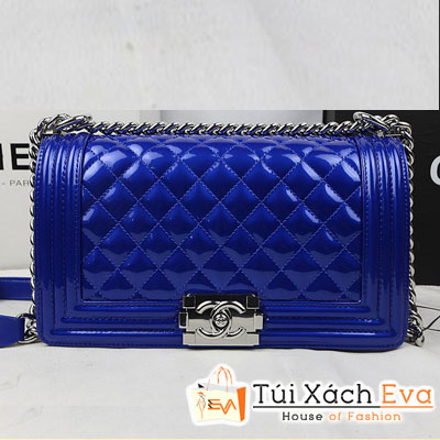 Túi Xách Chanel Boy Super Màu Xanh Coban Khóa Bạc Đẹp
