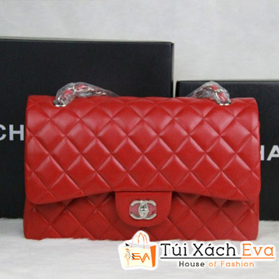 Túi Xách Chanel Classic Super Màu Đỏ Khóa Bạc Size 31 Đẹp