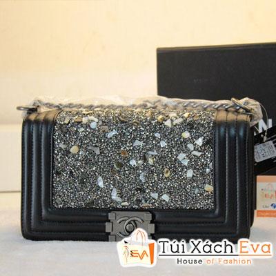 Túi Xách Chanel Boy Super Đính Đá Khóa Bạc Đẹp
