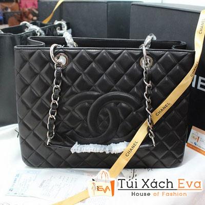 Túi Xách Chanel Shopping Siêu Cấp Màu Đen Xích Bạc Đẹp.