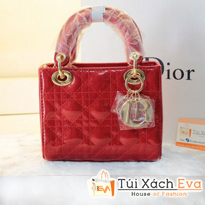 Túi Xách Dior Lady 3 Ô Da Bóng F1 Màu Đỏ Đẹp