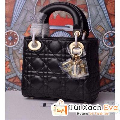 Túi Xách Dior Lady Super Da Lì 3 Ô Màu Đen Khóa Vàng Đẹp