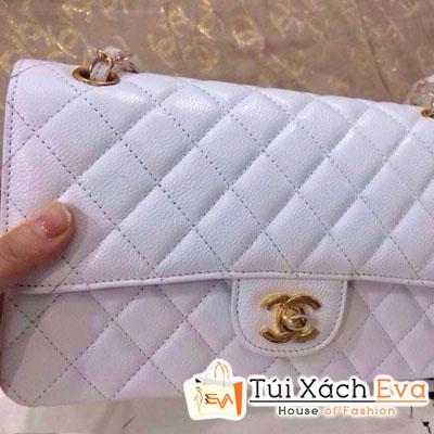 Túi Xách Chanel Classic Super Da Hột Màu Trắng Đẹp