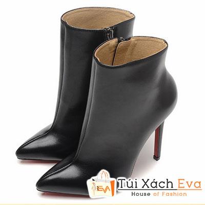 Giày Gót Nhọn Christian Louboutin Ankle Boots Super Màu Đen Đẹp