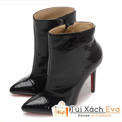 Giày Gót Nhọn Christian Louboutin Ankle Boots Super Màu Đen Da Rắn Đẹp