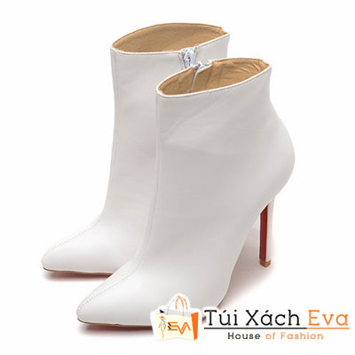 Giày Gót Nhọn Christian Louboutin Ankle Boots Super Màu Trắng Đẹp