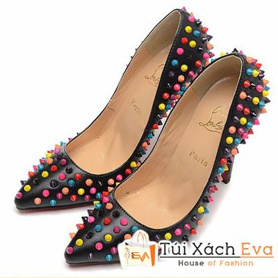 Giày Gót Nhọn Christian Louboutin Super Đinh Tán Đa Sắc Màu Đen Đẹp