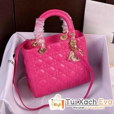 Túi Xách Dior Lady Super Da Lì 5 Ô Màu Hồng Đẹp