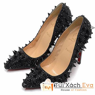 Giày Gót Nhọn Christian Louboutin Super Đinh Tán Phối Hạt Màu Đen Đẹp
