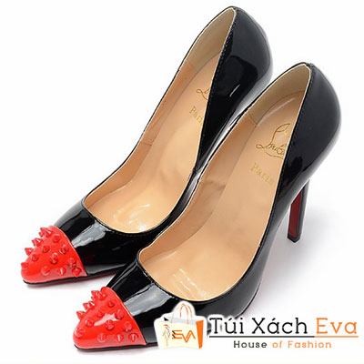 Giày Gót Nhọn Christian Louboutin Super Đinh Tán Đỏ Màu Đen Đẹp