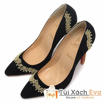 Giày Gót Nhọn Christian Louboutin Super Nhung Màu Đen Đẹp