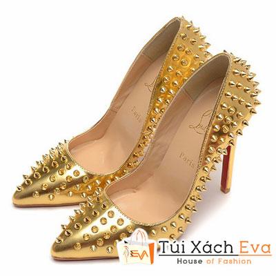 Giày Gót Nhọn Christian Louboutin Super Đinh Tán Màu Gold Đẹp