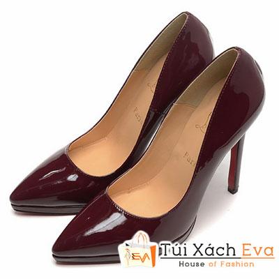Giày Gót Nhọn Christian Louboutin Super Da Bóng Màu Đỏ Đô Đẹp