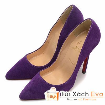 Giày Gót Nhọn Christian Louboutin Super Nhung Màu Tím Đẹp