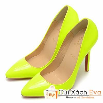 Giày Gót Nhọn Christian Louboutin Super Da Bóng Màu Vàng Chanh Đẹp