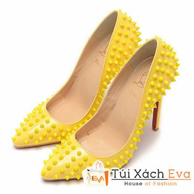 Giày Gót Nhọn Christian Louboutin Super Đinh Tán Màu Vàng Đẹp