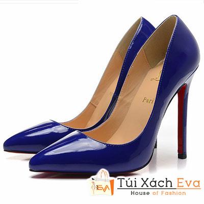 Giày Gót Nhọn Christian Louboutin Super Da Bóng Màu Xanh Biển Đẹp