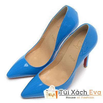 Giày Gót Nhọn Christian Louboutin Super Da Bóng Màu Xanh Cobalt Đẹp