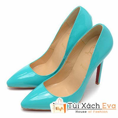 Giày Gót Nhọn Christian Louboutin Super Da Bóng Màu Xanh Da Trời Đẹp