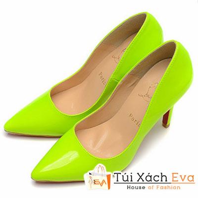 Giày Gót Nhọn Christian Louboutin Super Da Bóng Màu Xanh Lá Chuối Đẹp