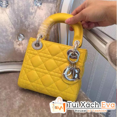 Túi Xách Dior Lady Super 3 Ô Màu Vàng Khóa Bạc Đẹp