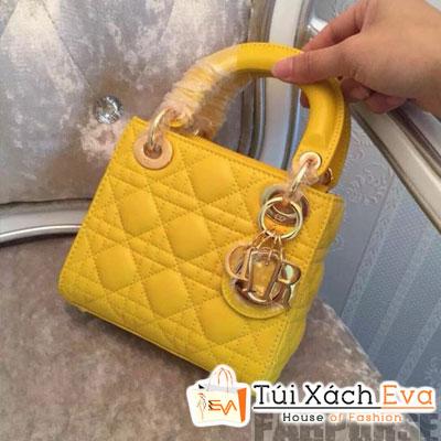Túi Xách Dior Lady Super 3 Ô Màu Vàng Khóa Vàng Đẹp