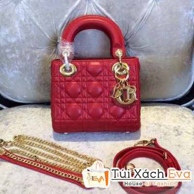 Túi Xách Dior Lady Super 3 Ô Màu Đỏ Khóa Vàng Đẹp
