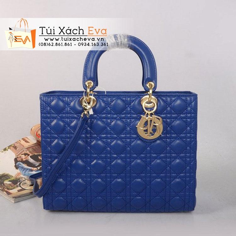 Túi Xách Dior Lady Super Da Lì 7 Ô Màu Xanh Cobalt Đẹp