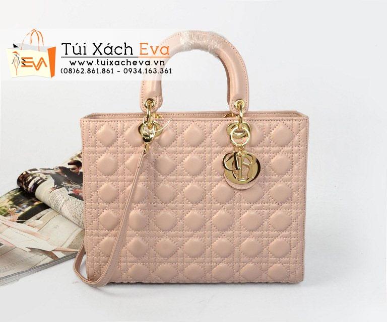 Túi Xách Dior Lady Super Da Lì 7 Ô Màu Dâu Da Đẹp