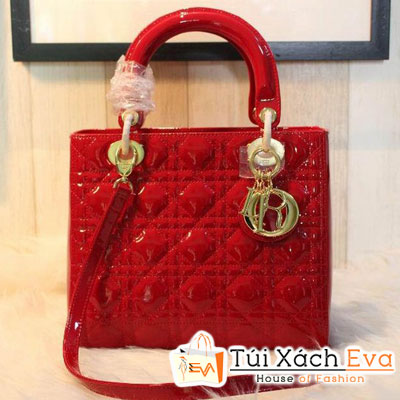 Túi Xách Dior Lady Super Da Bóng 5 Ô Màu Đỏ Khóa Vàng Đẹp