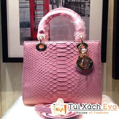 Túi Xách Dior Lady Super Da Rắn Màu Hồng Phấn Khóa Vàng Đẹp