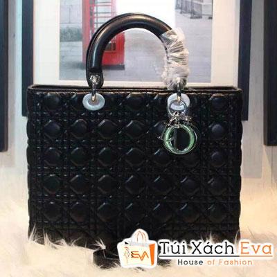 Túi Xách Dior Lady Super 7 Ô Da Lì Màu Đen Khóa Bạc Đẹp