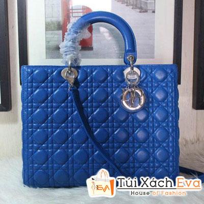 Túi Xách Dior Lady Super 7 Ô Da Lì Màu Xanh Cobalt Khóa Bạc Đẹp