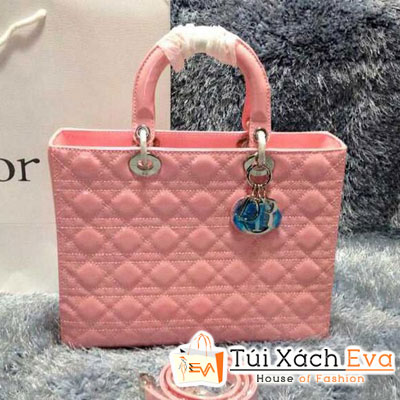 Túi Xách Dior Lady Super 7 Ô Da Bóng Màu Hồng Phấn Khóa Bạc Đẹp