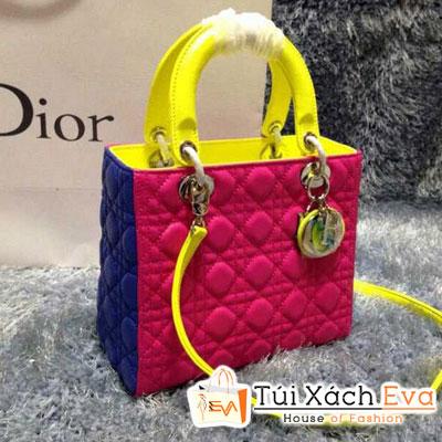 Túi Xách Dior Lady Super 5 Ô Da Lì Màu Hồng Phối Vàng Chanh Đẹp