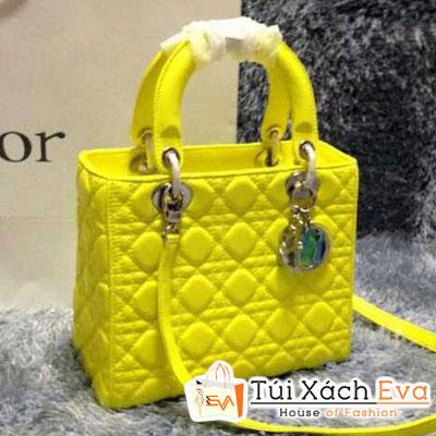 Túi Xách Dior Lady Super 5 Ô Da Lì Màu Vàng Chanh Đẹp