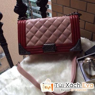 Túi Xách Chanel Boy Siêu Cấp Mix Màu Hồng Đỏ Đẹp