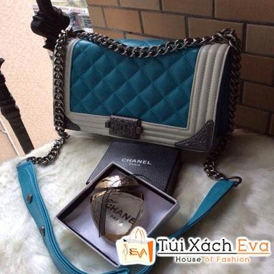 Túi Xách Chanel Boy Siêu Cấp Mix Màu Xanh Trắng Đẹp