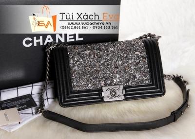 Túi Xách Chanel Boy Super Màu Đen Đá Đẹp.