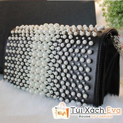 Túi Xách Chanel Ngọc Trai Cluth F1 Màu Đen Đẹp