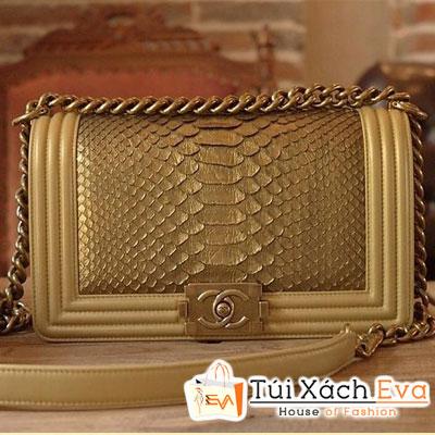Túi Xách Chanel Boy Da Rắn Siêu Cấp Màu Gold Đẹp