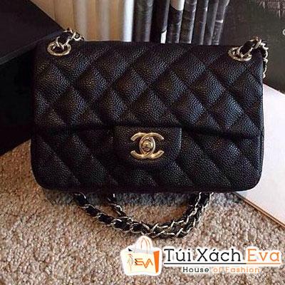 Túi Xách Chanel Classic Super Màu Đen Da Hột Size 20 Đẹp