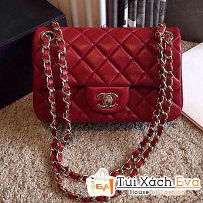 Túi Xách Chanel Classic Super Màu Đỏ Da Lì Size 20 Đẹp