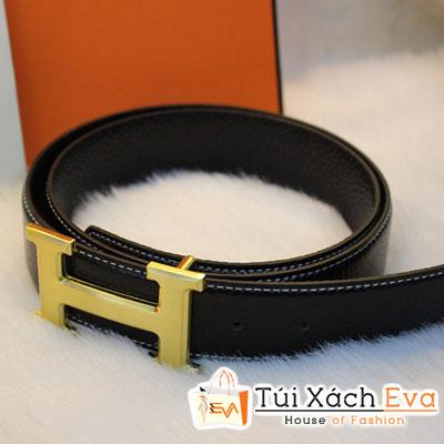 Thắt Lưng Hermes F1 Màu Đen Khóa Vàng Đẹp