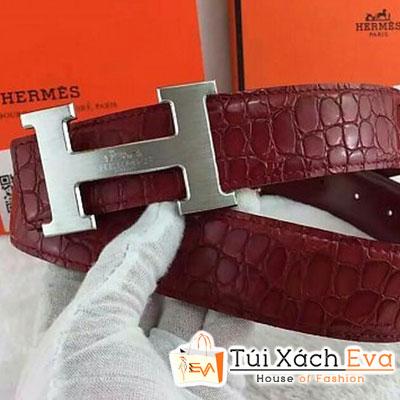 Thắt Lưng Hermes Super Da Cá Sấu Màu Đỏ Khóa Bạc Đẹp